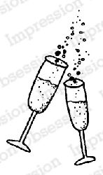 Impression Obsession - Cling Mounted Rubber Stamp - By Lindsay Ostrom - Champagne Glasses