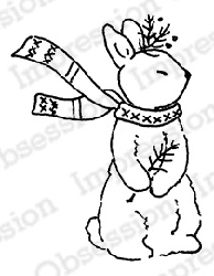 Impression Obsession - Cling Mounted Rubber Stamp - By Alesa Baker - Woodlawn Bunny Standing