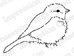 Impression Obsession - Cling Mounted Rubber Stamp - By Alesa Baker - Fluffy Bird