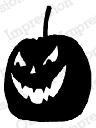 Impression Obsession - Cling Mounted Rubber Stamp - By Gail Green - Scary Pumpkin 1