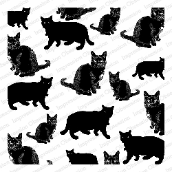 Impression Obsession - Cover A Card - Black Cats Cling Mounted Rubber Stamp