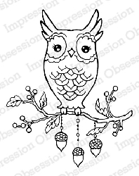 Impression Obsession - Cling Mounted Rubber Stamp - By Carmen Medlin - Autumn Owl
