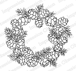 Impression Obsession - Cling Mounted Rubber Stamp - By Alesa Baker - Pine Cone Wreath