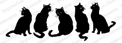 Impression Obsession - Cling Mounted Rubber Stamp - By Gail Green - Black Cats