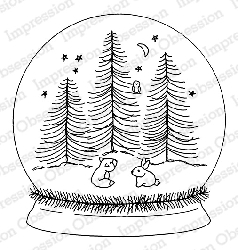 Impression Obsession - Cling Mounted Rubber Stamp - By Alesa Baker - Forest Friends Snow Globe
