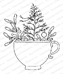 Impression Obsession - Cling Mounted Rubber Stamp By Alesa Baker - Christmas Teacup