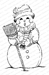 Impression Obsession - Cling Mounted Rubber Stamp By Tara Caldwell - Singing Snowman