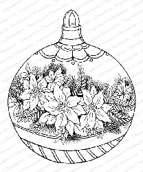 Impression Obsession - Cling Mounted Rubber Stamp By Tara Caldwell - Poinsettia Ornament