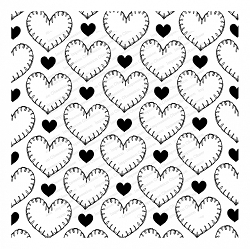 Impression Obsession - Cover A Card Stitched Hearts Cling Mounted Rubber Stamp By Tara Caldwell