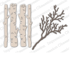 Impression Obsession - Die - Birch Logs & Twigs