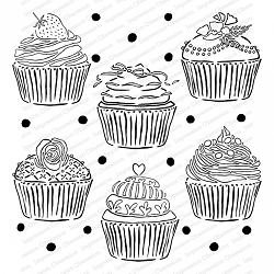 Impression Obsession - Cover A Card - Cupcakes Cling Mounted Rubber Stamp