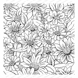Impression Obsession - Cover A Card Flower Garden Cling Mounted Rubber Stamp