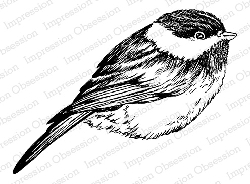 Impression Obsession - Cling Mounted Rubber Stamp By Tara Caldwell - Fuzzy Chickadee
