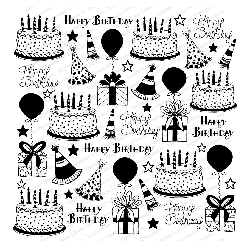 Impression Obsession - Cover A Card Birthday Fun Cling Mounted Rubber Stamp