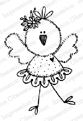 Impression Obsession - Chickie Tutu Cling Mounted Rubber Stamp By Lindsay Ostrom