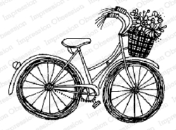 Impression Obsession - Spring Bike Cling Mounted Rubber Stamp By Lindsay Ostrom