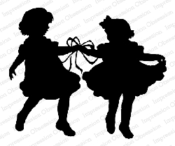 Impression Obsession - Ribbon Dance Silhouette Cling Mounted Rubber Stamp By Dina Kowal