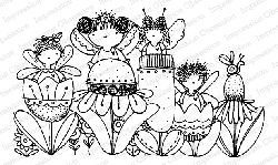 Impression Obsession - Fairies Flower Line Cling Mounted Rubber Stamp By Lindsay Ostrom