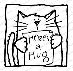 Impression Obsession - Kitty Hug Cling Rubber Stamp By Nola Chandler