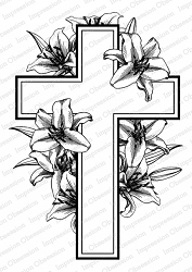 Impression Obsession - Cross with Lilies Cling Rubber Stamp