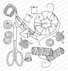 Impression Obsession - Sewing Supplies Cling Rubber Stamp By Dina Kowal