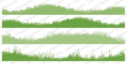 Impression Obsession - Wavy Grass Slimline Cling Mounted Rubber Stamp Set