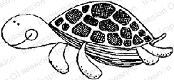 Impression Obsession - Cling Mounted Rubber Stamp - By Lindsay Ostrom - Speedy Sea Turtle