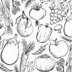 Impression Obsession - Cling Mounted Rubber Stamp - Cover A Card - Vegetable Medley