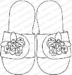 Impression Obsession - Cling Mounted Rubber Stamp - By Alesa Baker - Floral Flip Flops