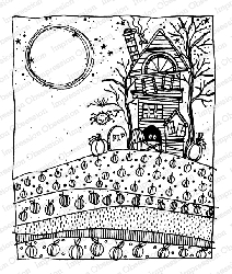 Impression Obsession - Haunted House Cling Mounted Rubber Stamp By Lindsay Ostrom