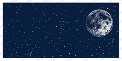 Impression Obsession - Night Sky with Moon Slimline Cling Mounted Rubber Stamp Set