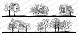 Impression Obsession - Bare Treeline Duo Slimline Cling Mounted Rubber Stamp Set