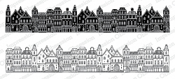 Impression Obsession - Town Slimline Cling Mounted Rubber Stamp Set