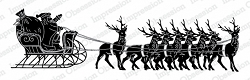 Impression Obsession - Santa with Sleigh Slimline Cling Mounted Rubber Stamp Set
