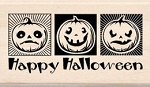 Inkadinkado-Wood Mounted Stamp-Three Jack O' Lanterns