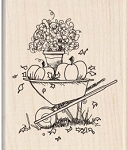 Inkadinkado-Wood Mounted Stamp-Fall Wheelbarrow