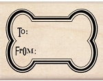 Inkadinkado Wood Mounted Rubber Stamp - Bone Gift Tag