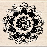 Inkadinkado - Wood Mounted Stamp - Button Flower