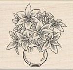 Inkadinkado Wood Mounted Rubber Stamp - Lily Floral
