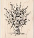 Inkadinkado Wood Mounted Rubber Stamp - Floral Bouquet