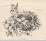 Inkadinkado Wood Mounted Rubber Stamp - Nest with Flowers