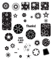 Inque Boutique - See D's  Unmounted Rubber Stamp Set  - Retro Shapes
