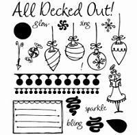 Inque Boutique - See D's  Unmounted Rubber Stamp Set  - All Decked Out