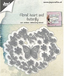 Joy Crafts - Cutting & Embossing Die - Floral Heart and Butterfly