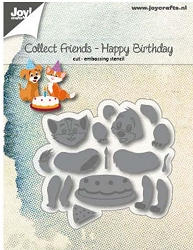Joy Crafts - Cutting & Embossing Die - Collect Friends Dog & Cat Happy Birthday