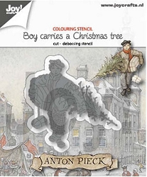 Joy Crafts - Cutting & Embossing Die - Anton Pieck Boy Carries a Christmas Tree