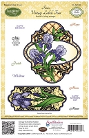 Just Rite - Cling Stamp Set - by Amy Teddler Designs - Irises Vintage Labels Four