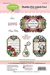 Just Rite-Cling Stamp Set-Shabby Chick Labels Four