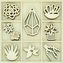 KaiserCraft - Greenhouse Collection - Succulents Wooden Shapes