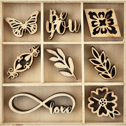 KaiserCraft - Indigo Skies Collection - Be You Wooden Shapes
